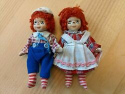 Antique Ceramic Raggedy Anne And Andy Dolls