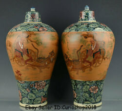 19.2 Old China Song Dynasty Sancai Porcelain Downhill Of Ghost Valley Vase Pair