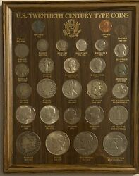 U.s. 20th Century Coin Collection--29 Coins--framed  5459