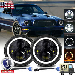 Pair 7 Inch Led Headlights Hi/lo Beam Halo Angel Eyes Drl For Mustang 1965-1978