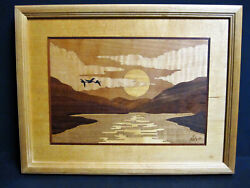 Hudson River Inlay Marquetry Art Signed Nelson Mountains Sun And Birds 10x13