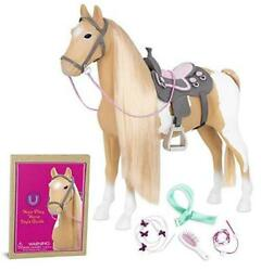 By Battat- Palomino Paint Horse- 20 Hair Play Horse- Toys, Beige/ White