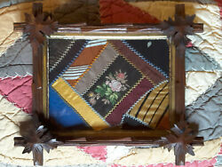 Antique Adirondack Carved Wood Frame W/ Old Embroidered Crazy Quilt Piece