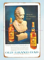 1960 Old Grand-dad Whiskey Ads Tin Sign Metal Wall Art Above Bed