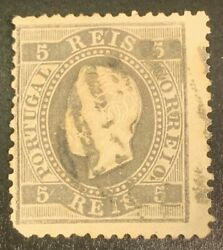 Collectible Rare Portugal 1867 Hinged Remaining 5 Reis Correos