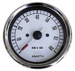 Tool Tachometer Fiat 500 126 Old White Bottom Numbers Black