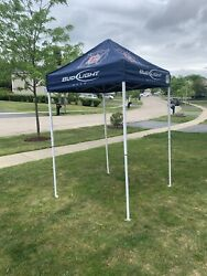 Vintage Chicago Fire Bud Light 5' X 5' Tailgate Tent Canopy W Steel Frame - Euc