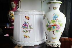 Herend Porcelain Handpainted Queen Victoria Large Lamp New Lampshade