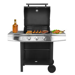 Bbq Gas Grill With Wheels Stainless Steel Movable Patio Garden Barbecue Cabinet