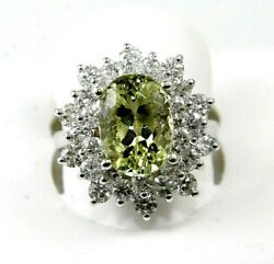 Natural Oval Green Beryl And Diamond Halo Solitaire Ring 14k White Gold 5.03ct