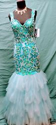 Turquoise Sequin Beaded Red Carpet Glamour National Pageant Mermaid Dress Small