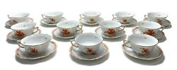 12 Herend Hungary Porcelain China Bouquet Pattern Breakfast Tea Cup And Saucers