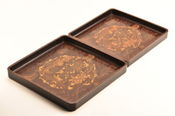 Antique Japanese Lacquer Phoenix Carved Nesting Trays
