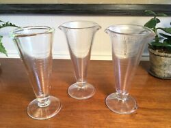 Vintage 3 Footed Double Spout Rx Measuring Beakers Apothecary Pharmacy