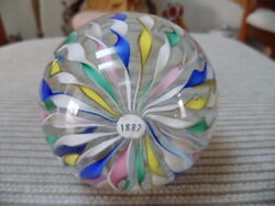 Murano Toso Pastel Ribbon Art Glass Paperweight, Pristine Cond. 1887 Date Cane