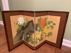 Vintage Asian Hand Painted Silk Folding Table Top Screen Divider 17.5andrdquo Tall