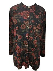 Womens Coldwater Creek 1x Slinky Floral Travel Knit Top Long Sleeve Multicolor