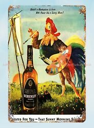 Wall Decor Rooster Painter Schenley Reserve Whisky Metal Tin Sign