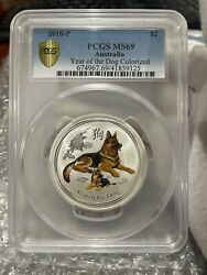 2018-p 2 Oz. Silver Australian Lunar Year Of The Dog Colorized Pcgs Ms69