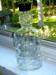 Lincoln Glass Bottle Antique Bank 8.5 Lincoln Foods Lawrence Mass Figural E1