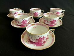 Herend Porcelain Handpainted Indian Basket Raspberry Tea Cup And Saucer 724/p