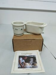 Longaberger Pottery Traditional Holly Toothpick And Sweetner Holder Set Green