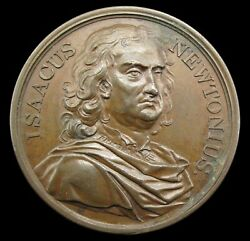 1727 Death Of Isaac Newton 43mm Bronze Medal - By Dassier