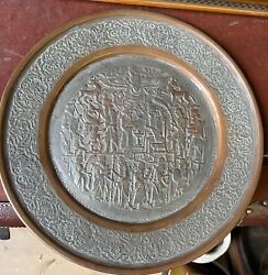 Antique Silver Tone On Copper Middle Eastern Persian Qajar Tray