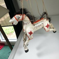Vintage Horse Marionette Handmade Wooden Puppet 12 From Nose To Tail