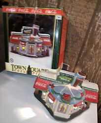 Coca Cola Town Square Scooters Drive In 1996. Free Shipping Christmas Village