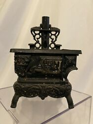 Vtg Cresent Cast Iron Wood Stove Miniature Salesman Sample And Accessories 8 Tall