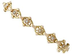 Antique 1910s 2.61 Ct Diamond And Seed Pearl, 9carat Yellow Gold Bracelet