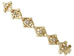 Antique 1910s 2.61 Ct Diamond And Seed Pearl 9carat Yellow Gold Bracelet