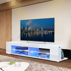 High Gloss 57'' Tv Stand Unit With Rgb Led 4 Shelve Cabinet Entertainment Center