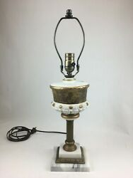 Antique Victorian Oil Font Table Lamp With Solid Marble Base - Made In Italy