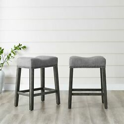 Coco Upholstered Backless Saddle Seat Counter Stools 24 Height Set Of 2 Gray