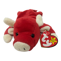 Ty Beanie Babies Snort The Bull 4002 9 Red Plush Stuffed Animal Toy Pvc Pellets