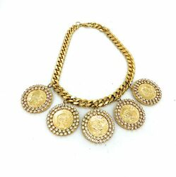 Vintage Fancy Gold And Rhinestone Coin Medallion Cuban Link Necklace
