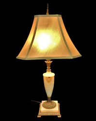 Vintage Double Socket Brass And Marble Table Lamp With Silk Shade C. 1940and039s