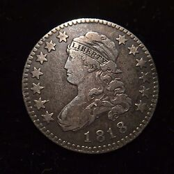 1818 Capped Bust Silver Quarter Dollar Vf/xf Very Fine 25c Cent Eagle Rare Type