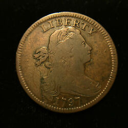 1797 1c Draped Bust Large Cent Choice Fine+ S-138 Variety With Stems Penny