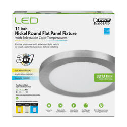 Feit Electric Led 11 In. W X 11 In. L Nickel Led Flat Panel Light Fix -pack Of 1