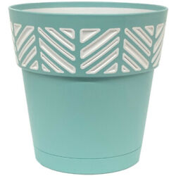 Deroma Mosaic 7.49 In. H X 8 In. Dia. Resin Mosaic Planter Teal -case Of 24