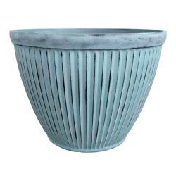Southern Patio 15 In. Dia. Resin Westland Patio Planter Patina Blue -case Of 8