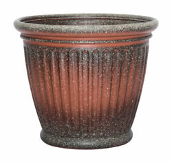 Suncast Capital 16 In. H X 18 In. W Resin Planter Two-tone Brown And -case Of 6