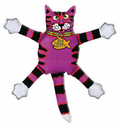 Fat Cat Multicolored Assorted Styles Canvas Squeak Dog Toy Small 1 -case Of 24