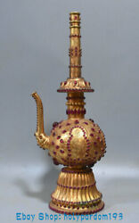 17.2 Collect Ancient China Bronze 24k Gold Gilt Inlay Gem Dynasty Wine Kettle