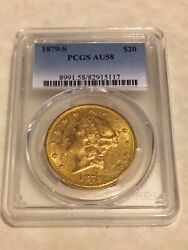 1879-s Au58 Pcgs Liberty Double Eagle 20 Gold Coin Very Nice Eyeclean