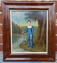 Wonderful Early 19th Cen Portrait On Canvas Of A Boy With Fish And Fishing Pole