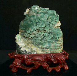 11.8 Natural Dushan Green Jade Carved People Tree House Mountain Water Statue